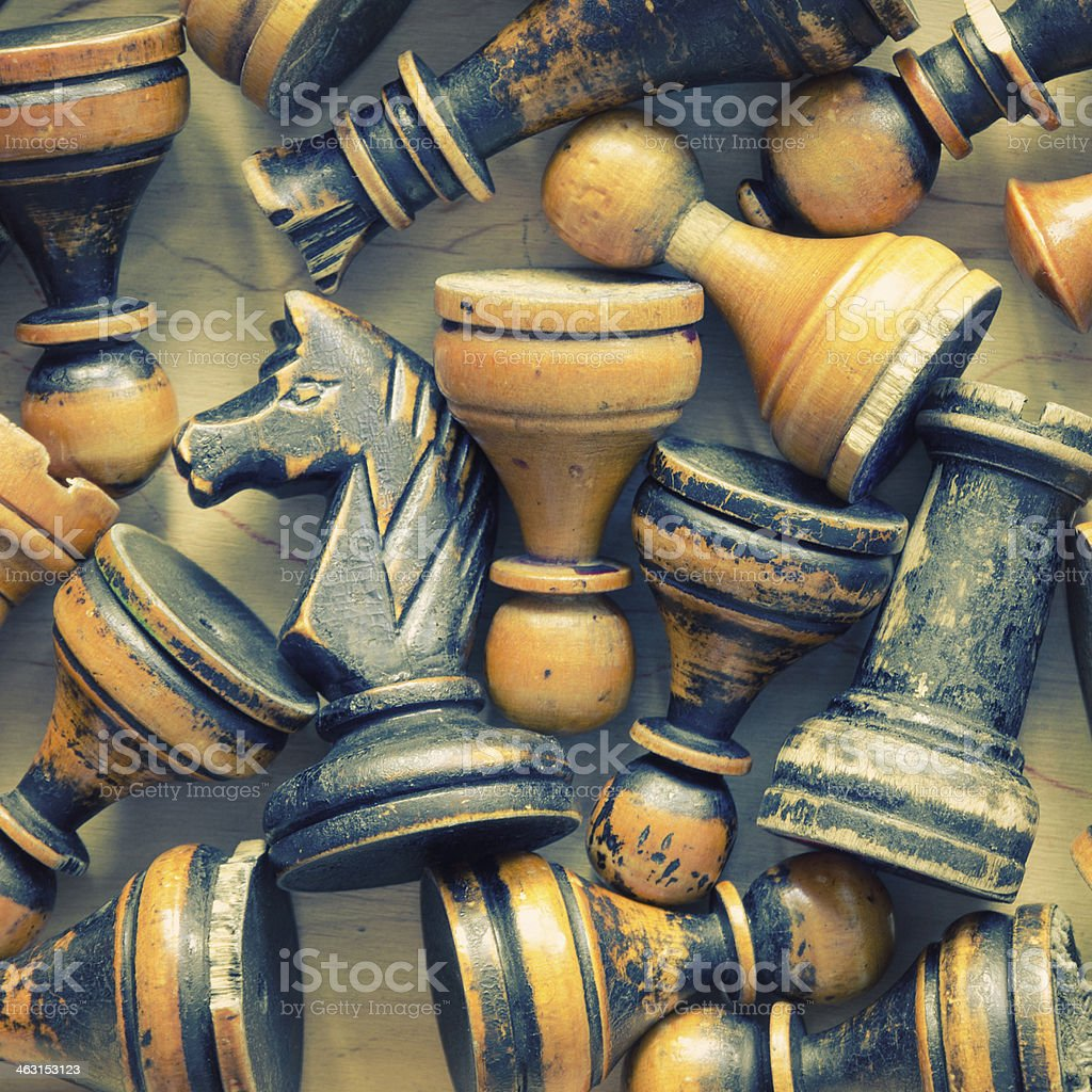 vintage chess figures royalty-free stock photo