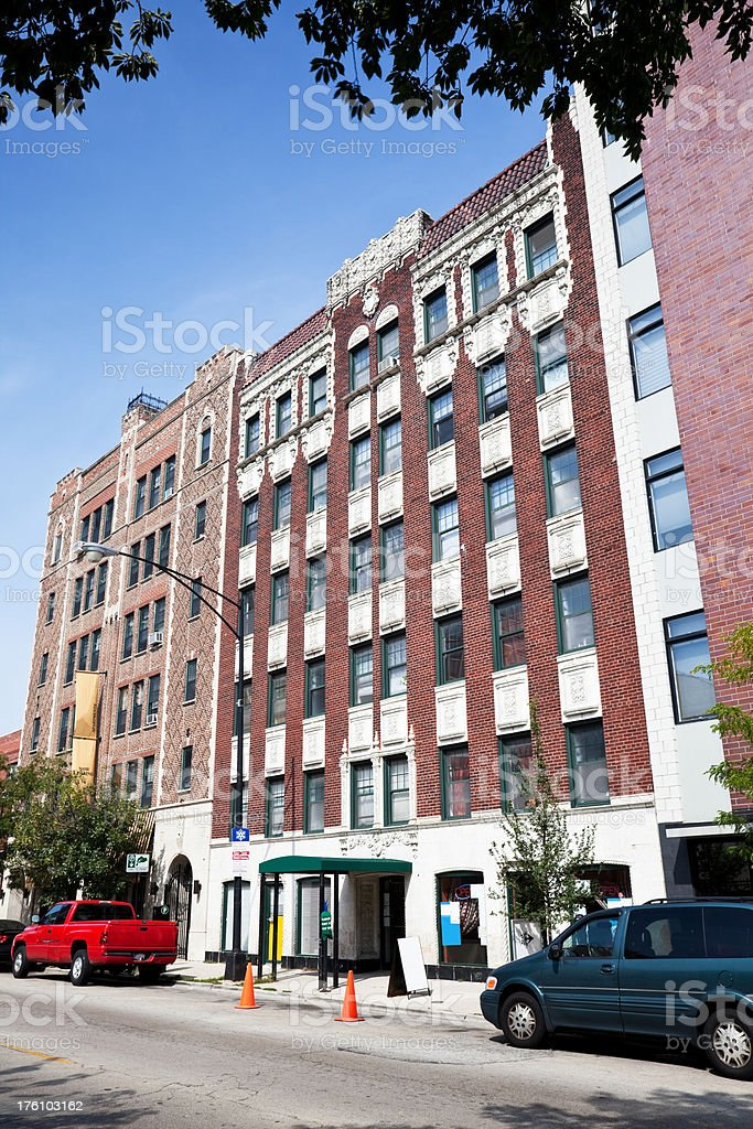 Vintage Chicago Apartment and Commercial Buildings royalty-free stock photo
