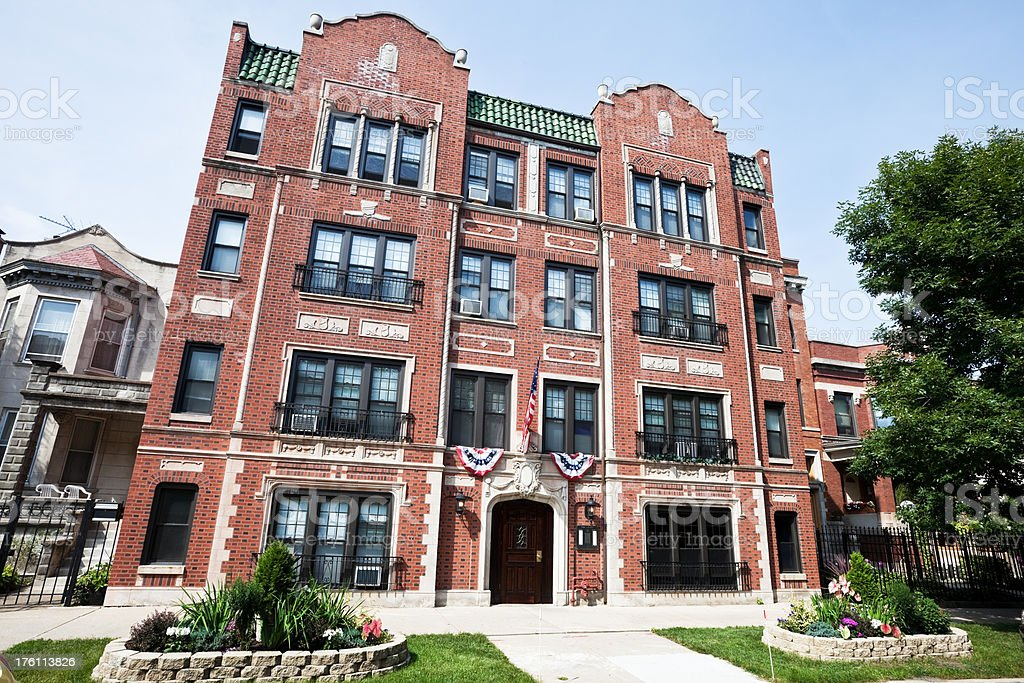 Vintage Chicago Apartments in Uptown royalty-free stock photo