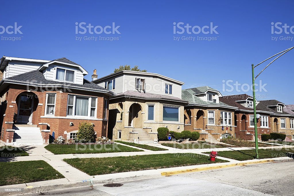 Vintage Chicago Bungalows in Dunning royalty-free stock photo