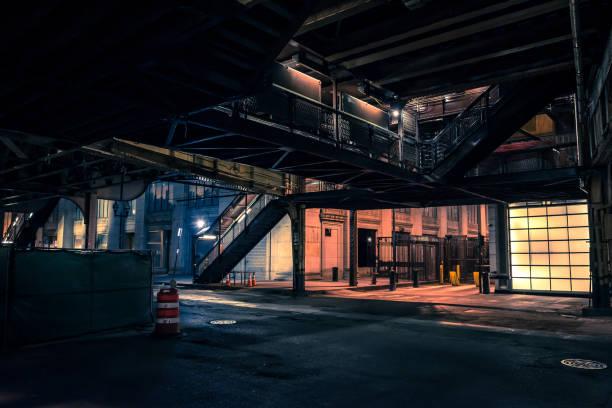 Vintage Chicago elevated CTA train subway station at night stock photo