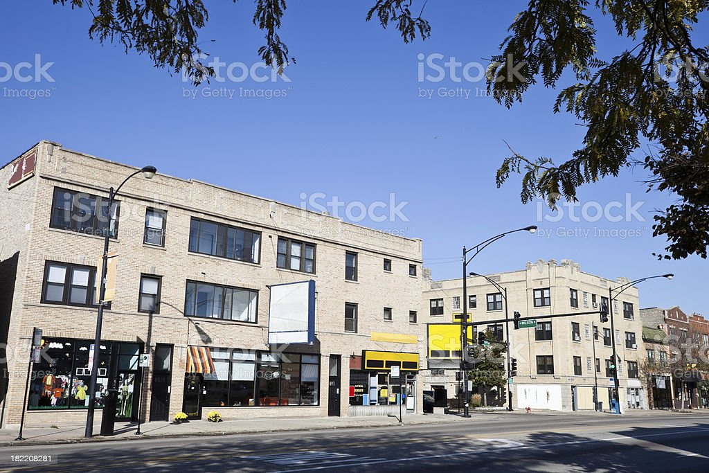 Vintage Chicago Shops in North Side Neighborhood royalty-free stock photo