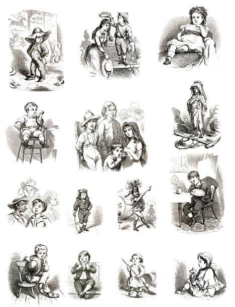 vintage collection pour enfants - objet gravé photos et images de collection