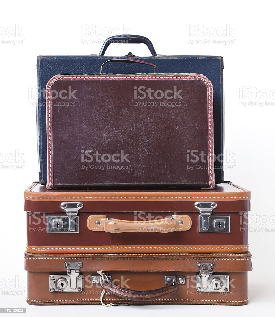 Vintage, child's  suitcases in a heap. royalty-free stock photo