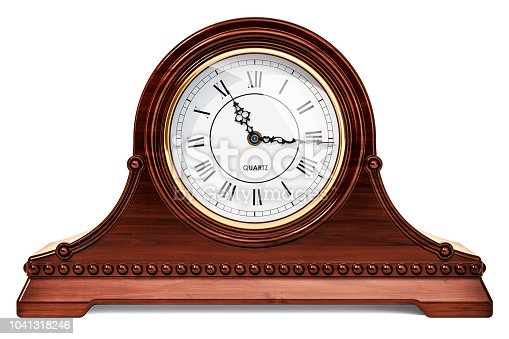 Vintage chimes mantle clock, shelf clock. 3D rendering isolated on white background