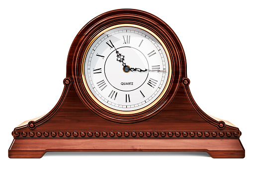 Old style clock face spiraling down in a Droste effect.