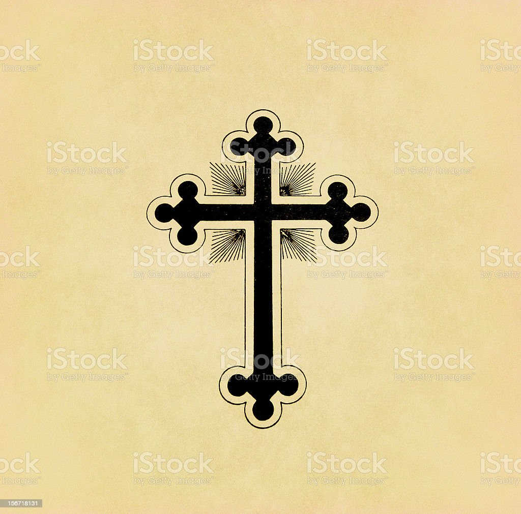 Vintage christian cross on old paper stock photo