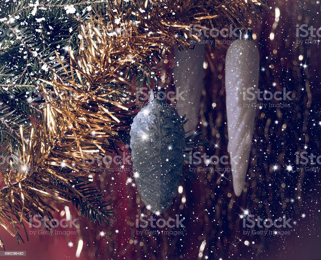 Vintage Christmas background. Fir branches, Christmas balls and falling snow royaltyfri bildbanksbilder