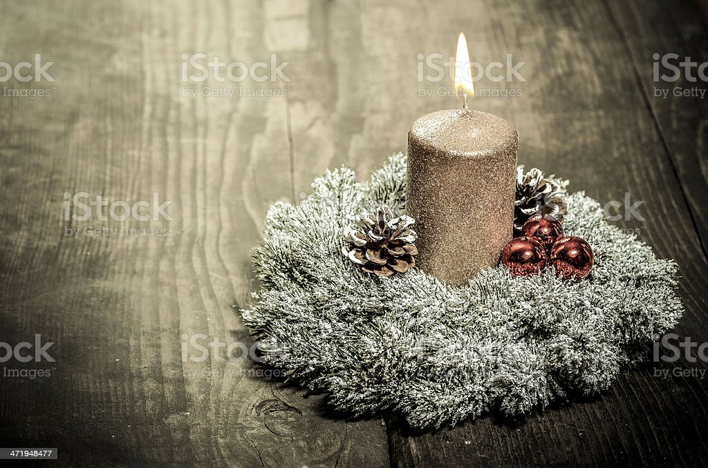Vintage Christmas background with baubles, pine and Christmas decoration stock photo