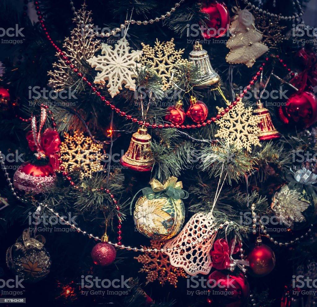 Vintage Christmas Background With Christmas Tree Decorations In Retro Style Stock Photo Download Image Now Istock