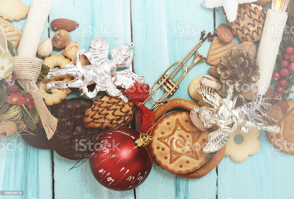 vintage Christmas background with copy space. royalty-free stock photo
