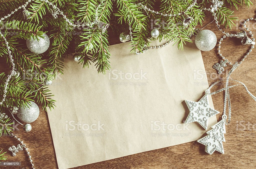 Vintage Christmas background with xmas decoration. Space for text. stock photo