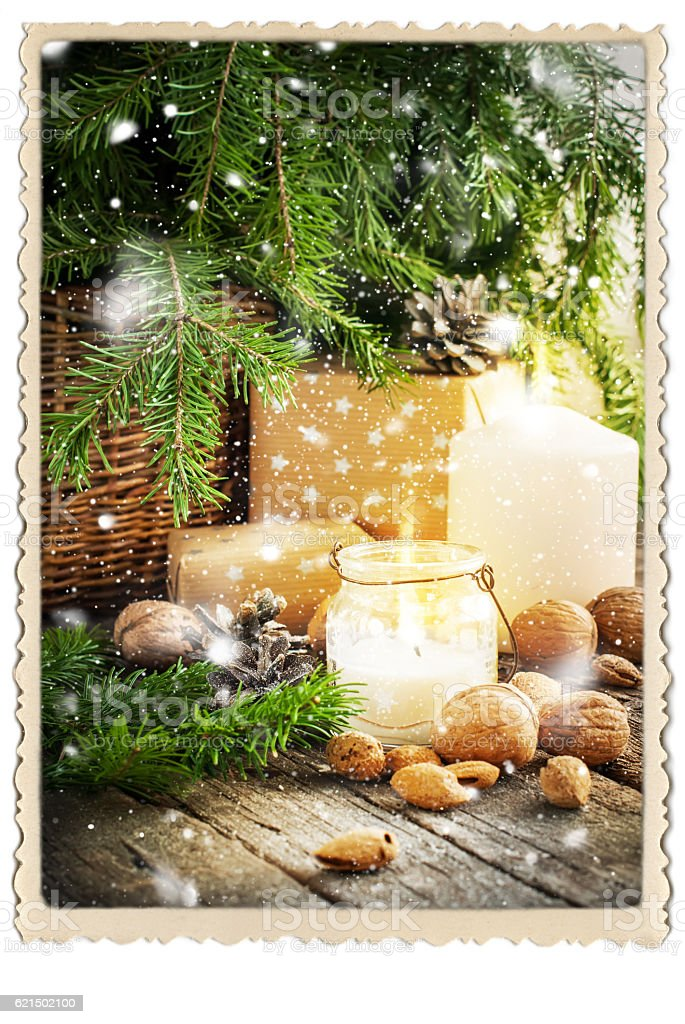 Vintage Christmas Card Gifts Burning Candle Falling Snow foto stock royalty-free