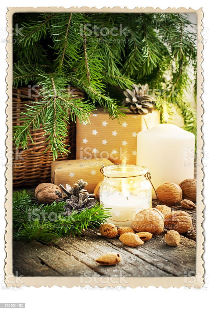 Vintage Christmas Card Gifts Burning Candle Retro Lizenzfreies stock-foto
