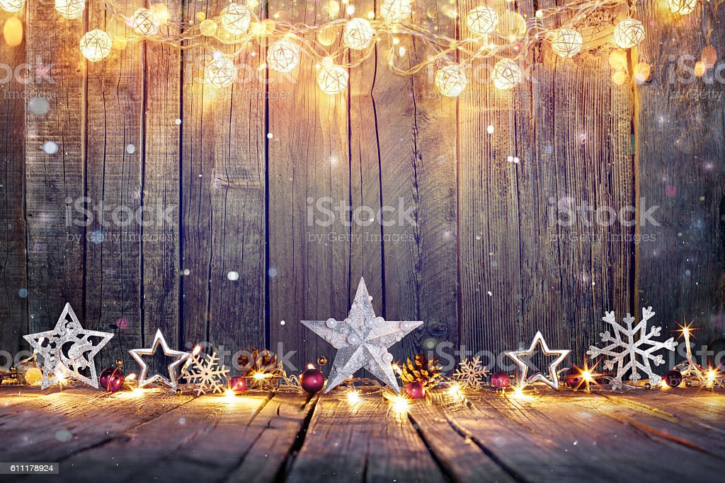Vintage Christmas Card With Lights And Star On Table stock photo