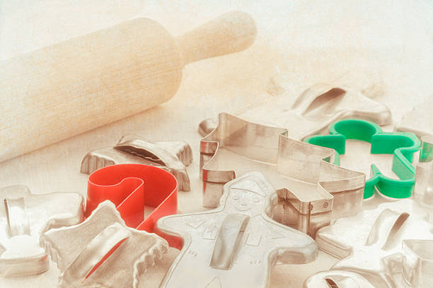 Vintage Christmas cookie cutters stock photo