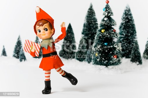 Vintage pixie elf Christmas tree ornament.  Made in Japan, circa 1950's.