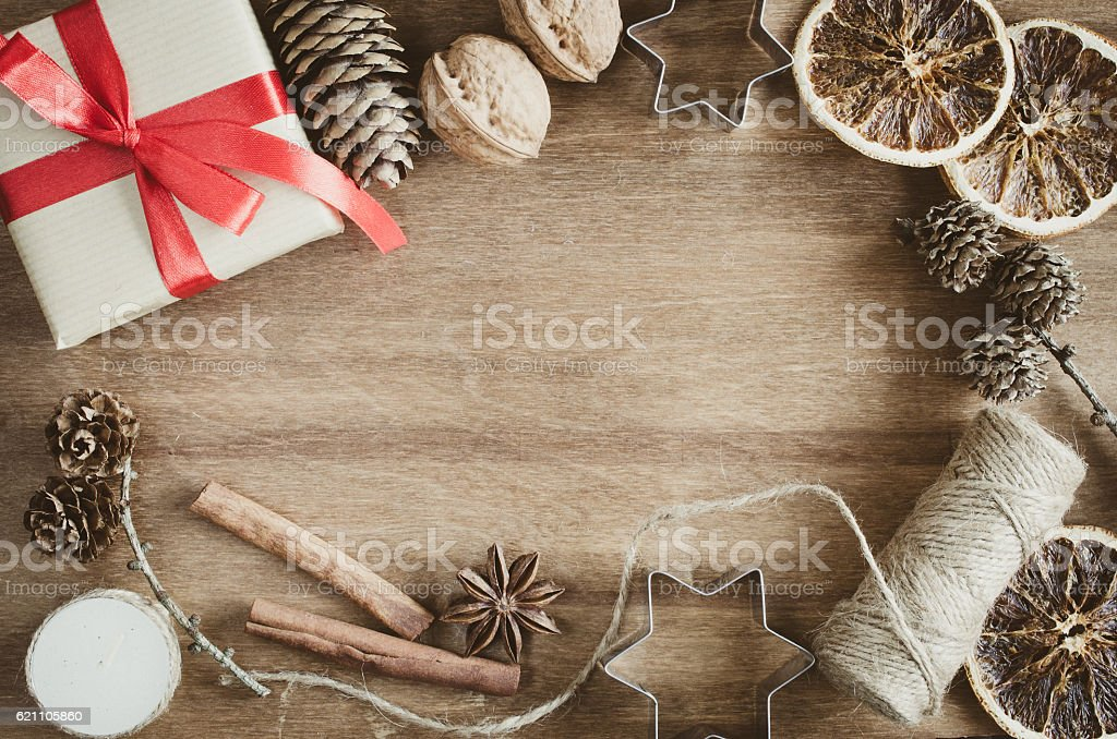 Vintage Christmas Holiday Background Rustic Xmas Decorations On Wooden Background Stock Photo Download Image Now Istock