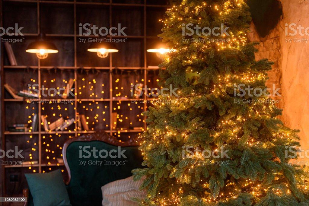 Vintage Christmas Lights.Vintage Christmas Living Room Interior With A Christmas Tree Colored Lights And Christmas Gifts Stock Photo Download Image Now