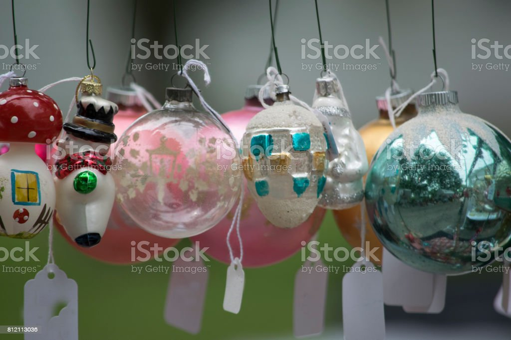 Vintage Christmas Ornaments For Sale Stock Photo More