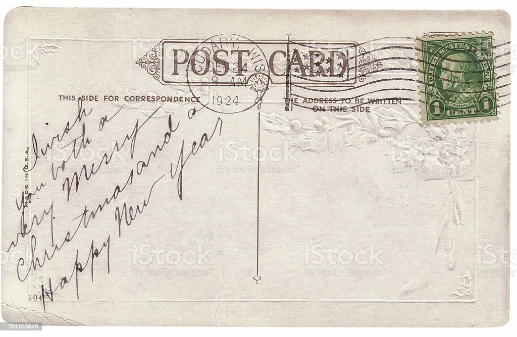 Vintage Christmas postcard greeting royalty-free stock photo