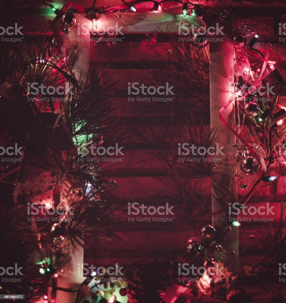 beautiful decoration christmas background with xmas tree, bow and...