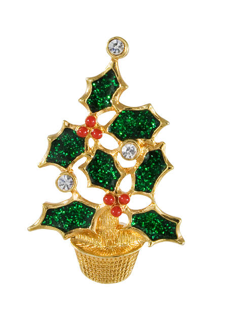 Vintage Christmas Tree Pin stock photo