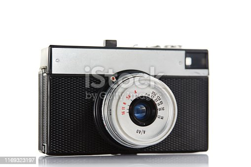 Vintage chrome and black rangefinder film camera on white background