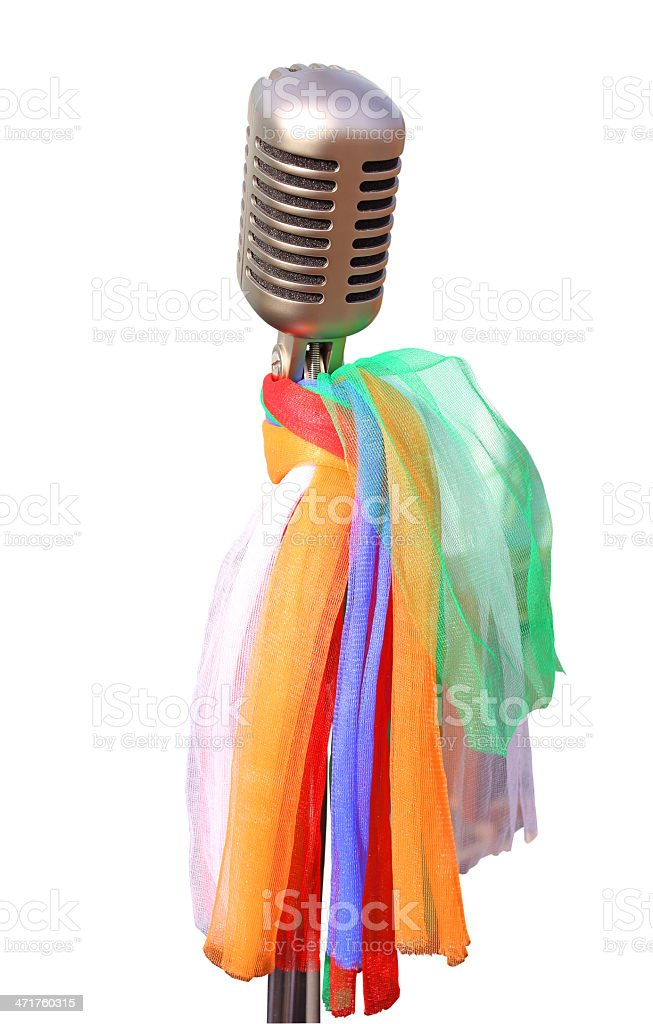 Vintage chrome microphone  clipping path royalty-free stock photo