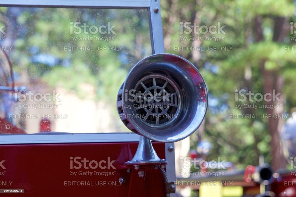 Vintage chrome Sireno fire engine siren stock photo