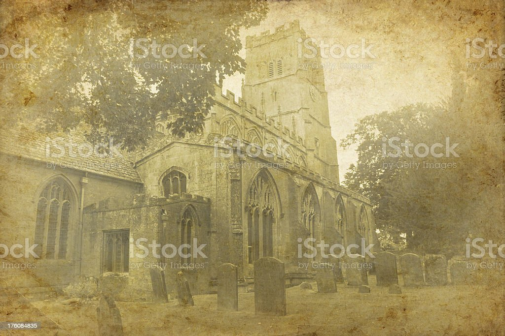 Vintage Church and Graveyard royalty-free stock photo