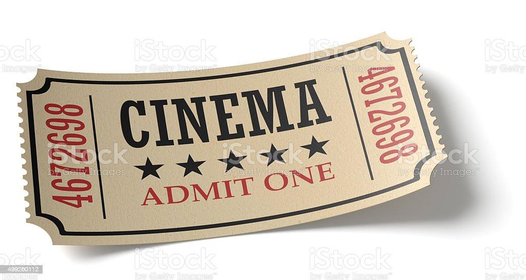 Vintage cinema ticket with shadow stock photo