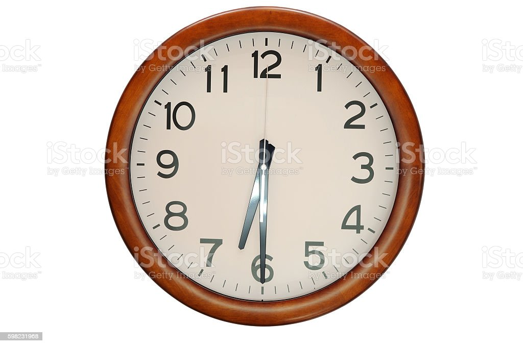 Vintage circle clock wooden frame isolate on white background foto royalty-free