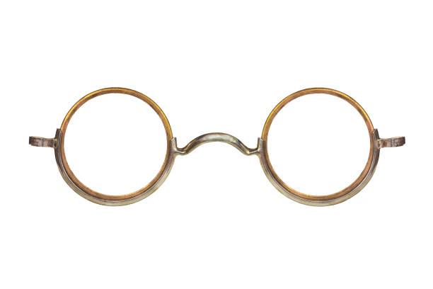 Vintage circular eyeglasses isolated on white stock photo