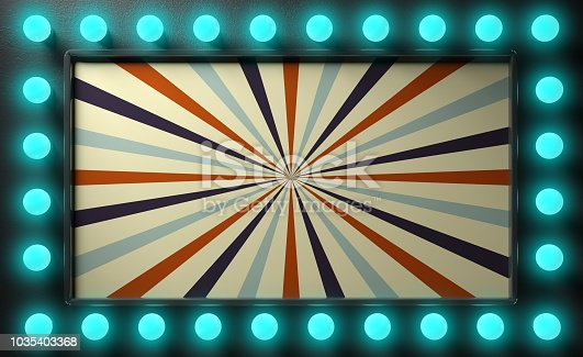 991292404 istock photo Vintage circus style sign with blue lights bulbs on black wall background. 3d illustration 1035403368
