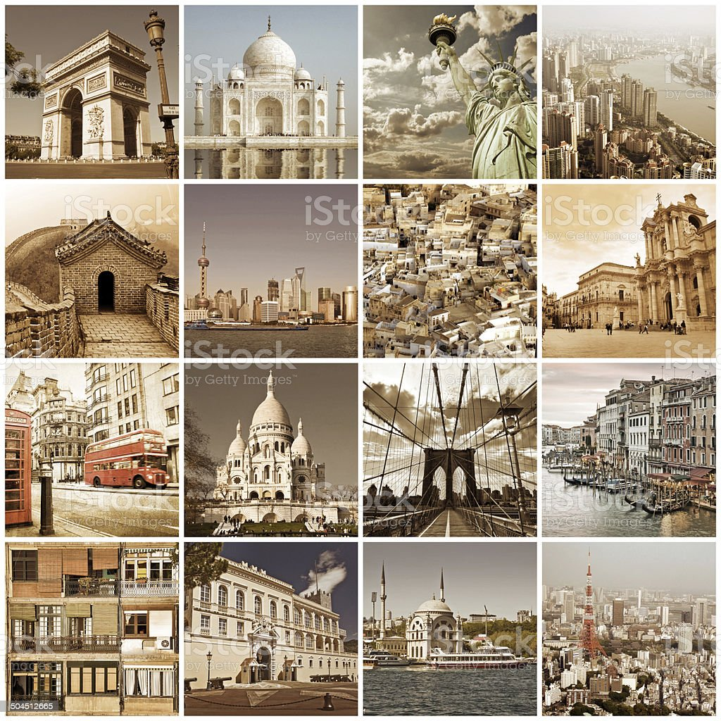 Vintage cities of the world collage stock photo