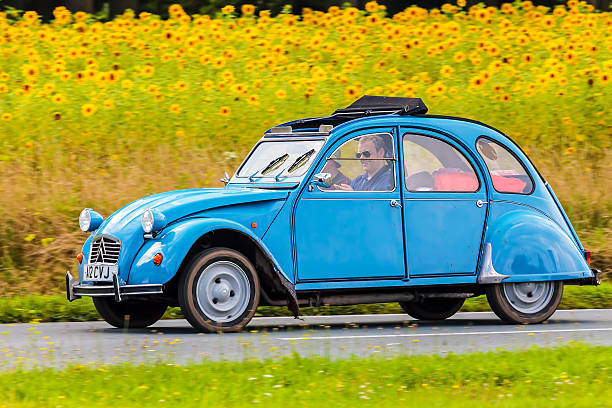 Vintage Citroen 2CV in front blooming sunflowers - Photo