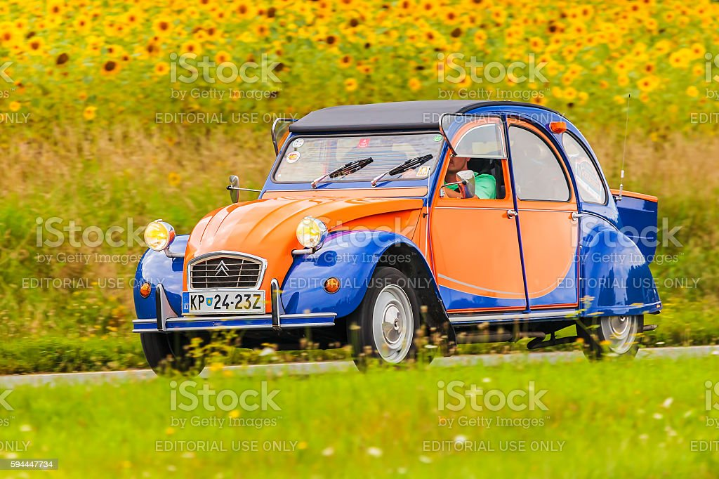 Vintage Citroen 2CV in front of a field with sunflowers - Photo