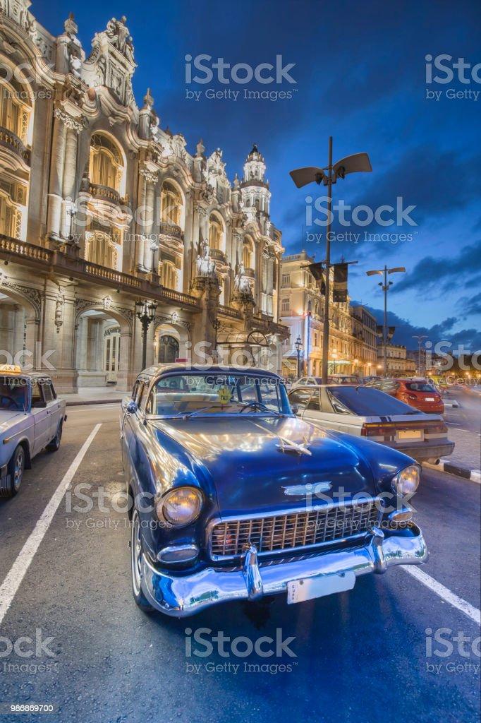 Vintage classic american oldtimer car in Havana Cuba Gran Teatro de...