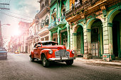 Vintage classic american oldtimer car in old town of Havana Cuba