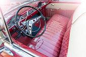 Vintage classic american oldtimer interior car in Havana Cuba