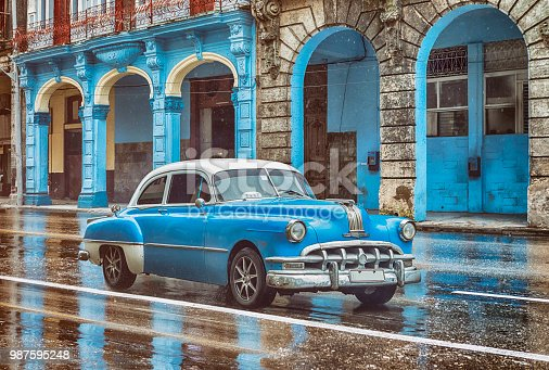 Vintage classic american oldtimer car in old town of Havana Cuba at rainy day