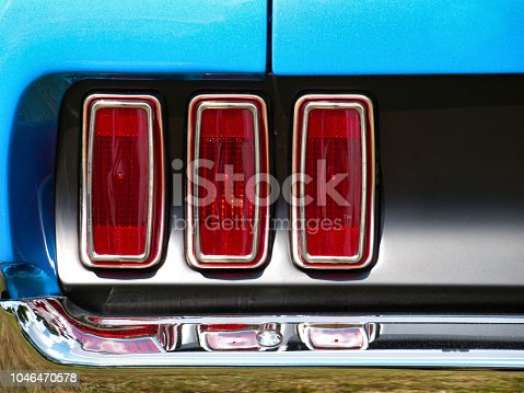 Old timer vintage american car tail lights old  Ford Mustang Classic Automobile stop brake lights