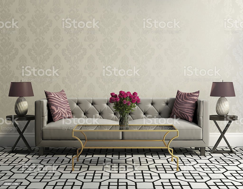 Vintage classic elegant living room with grey velvet sofa stock photo