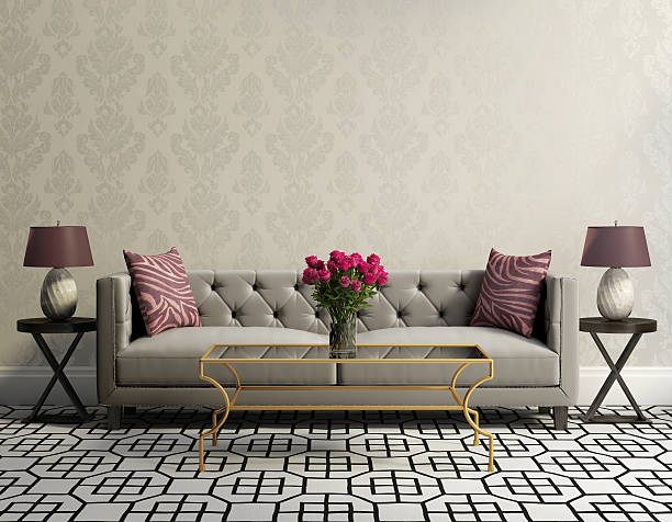 vintage classic elegant living room with grey velvet sofa - retro decor stock photos and pictures