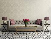 Vintage classic elegant living room with grey velvet sofa