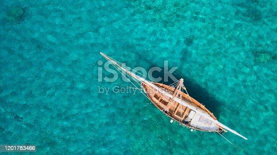 Vintage classic wooden sail boat, Vis Island, Croatia, aerial view