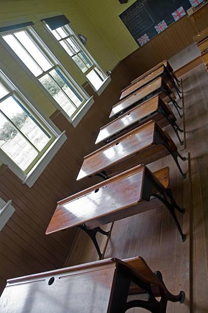 Vintage Classroom Desks Stock Photo