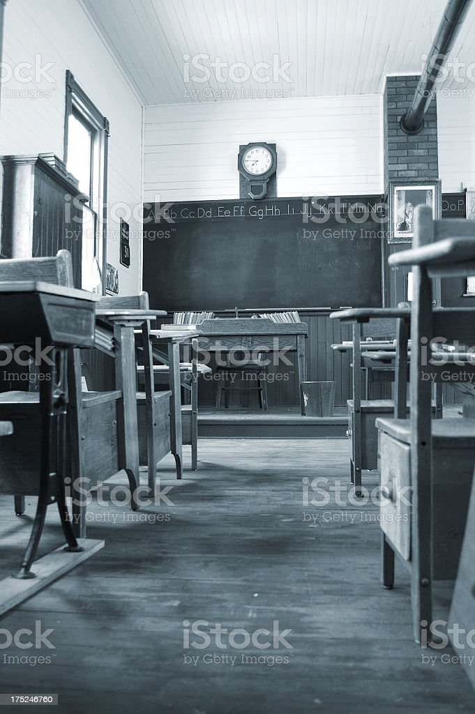 Vintage Classroom in Black and White stock photo