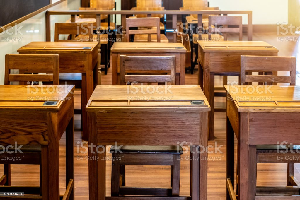 Vintage Classroom In Schoolrows Of Study Desk And Chair ...